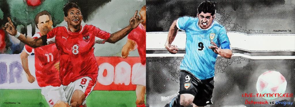 Spielfilm/Taktikticker: Österreich – Uruguay 1:1 (1:0)