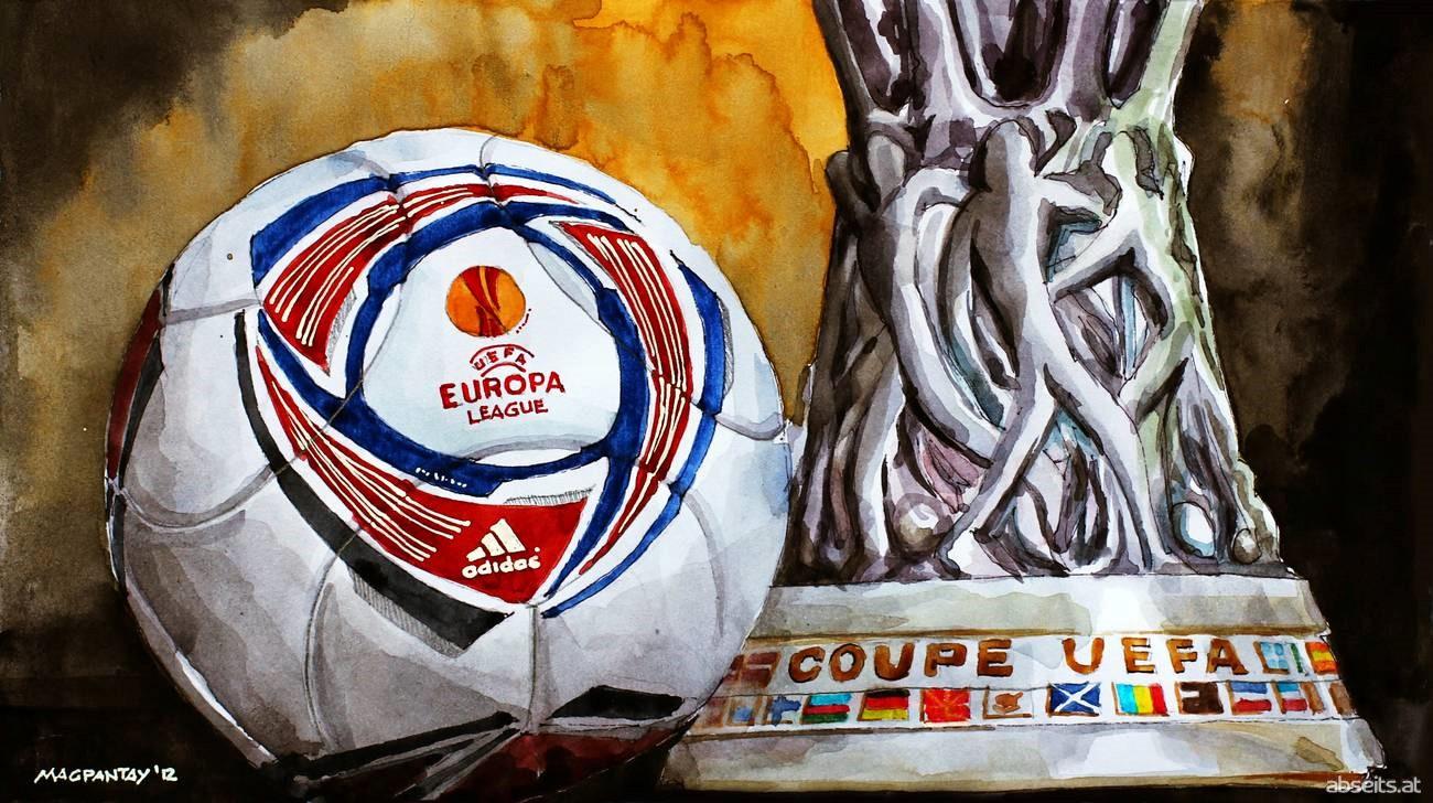 Europa League Pokal und Ball_abseits.at
