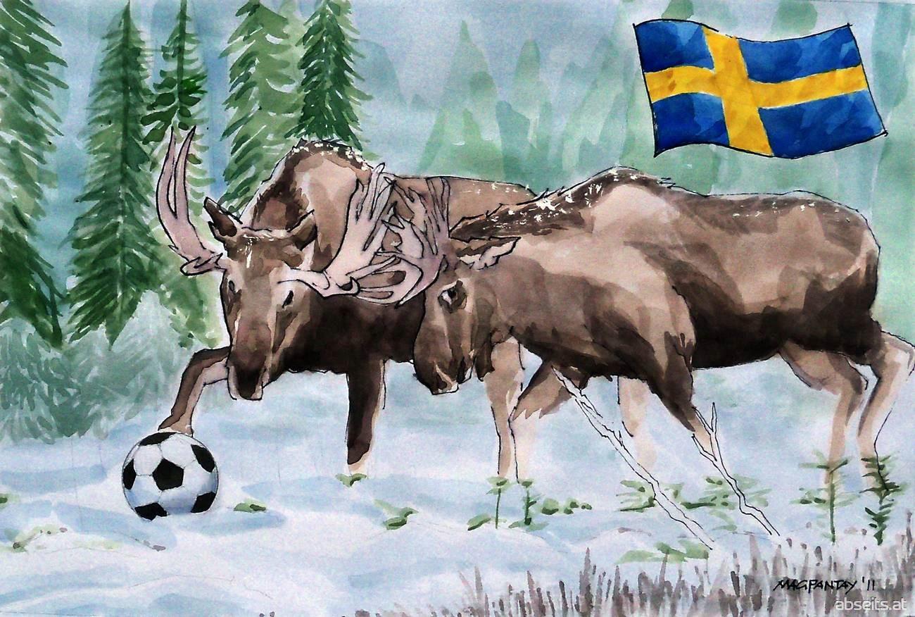 Fußball in Schweden - Elche mit Ball_abseits.at
