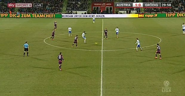 Kompaktes 4-4-1-1 der Austria1