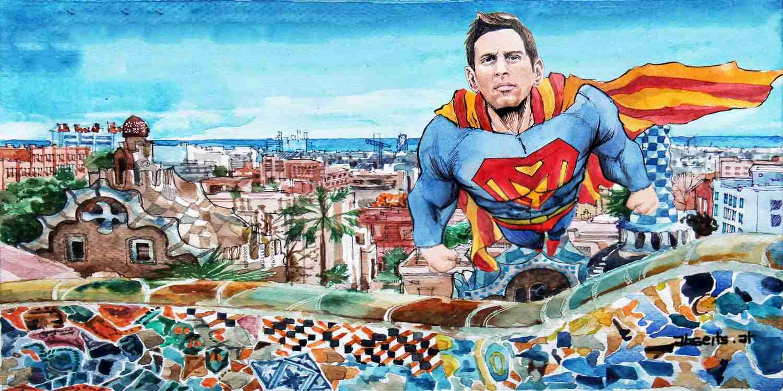 _Lionel Messi als Superman über Barcelona
