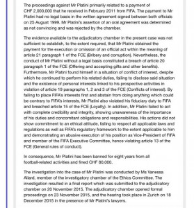 Der offizielle Grund für die Suspendierung von Michel Platini.