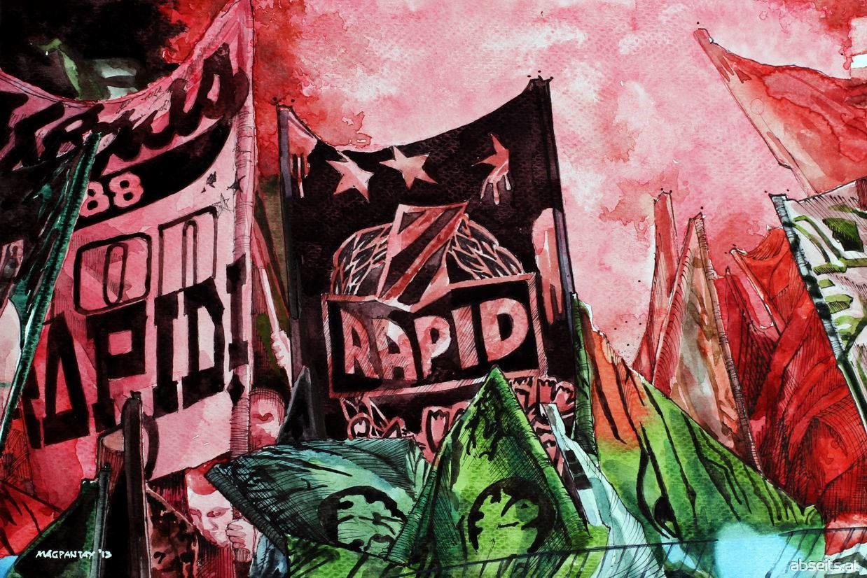 SK Rapid Wien - Block West Pyro klein_abseits.at