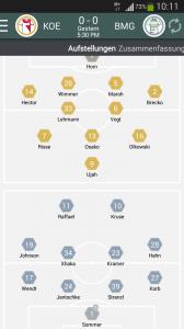 Samsung Kick App Statistiken zu 1.FC Köln vs Borussia Mönchengladbach
