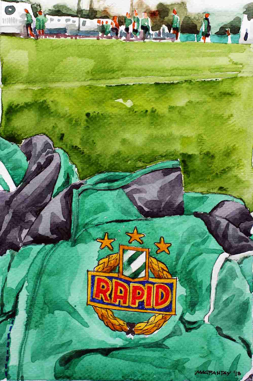 _Wappen Rapid Wien am Trainingsplatz