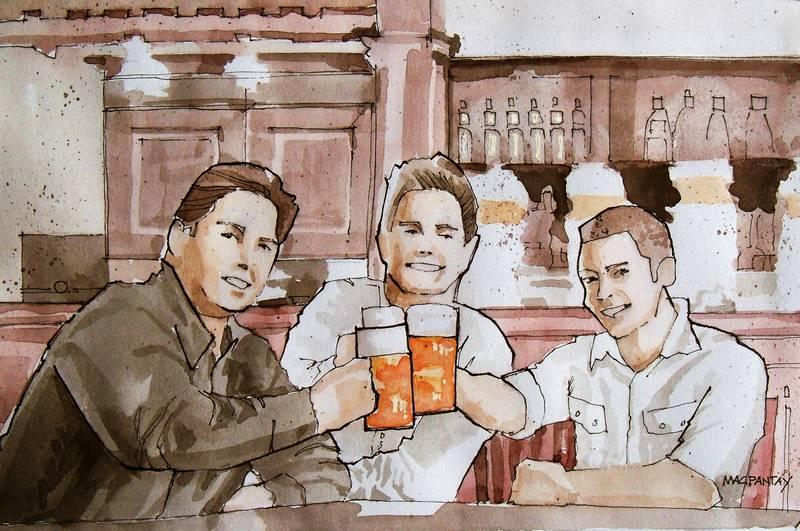 Freunde im Pub